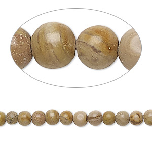 bead, landscape stone and tigerskin jasper (natural), 4mm round, c grade, mohs hardness 3-1/2 to 5. sold per 15-inch strand.
