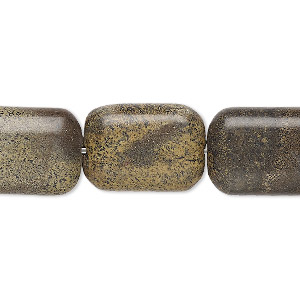 bead, landscape stone (natural), 18x13mm flat pillow, b grade, mohs hardness 3-1/2 to 4. sold per 16-inch strand.