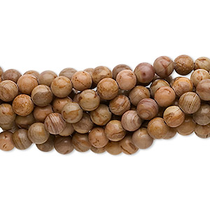 bead, landscape stone (natural), 4mm round, c grade, mohs hardness 3-1/2 to 4. sold per pkg of (10) 16-inch strands.