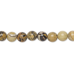 bead, landscape stone (natural), 6mm round, b grade, mohs hardness 3-1/2 to 4. sold per 16-inch strand.