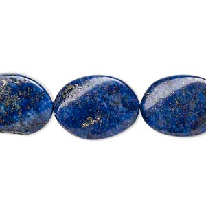 bead, lapis lazuli (dyed), 18x14mm twisted flat oval, c- grade, mohs hardness 5 to 6. sold per 15-inch strand.
