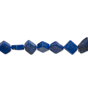 bead, lapis lazuli (dyed), 7x6mm-8x8mm hand-cut flat diamond, c grade, mohs hardness 5 to 6. sold per 13-inch strand.
