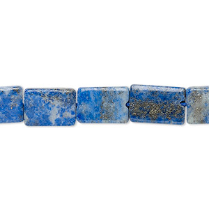 bead, lapis lazuli (natural), 10x7mm-12x9mm hand-cut flat rectangle, c+ grade, mohs hardness 5 to 6. sold per 13-inch strand.