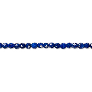 bead, lapis lazuli (natural), 3mm faceted round with 0.7mm hole, a- grade, mohs hardness 5 to 6. sold per 16-inch strand.