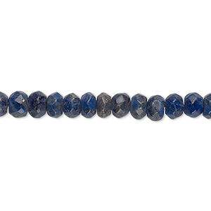 bead, lapis lazuli (natural), 6x4mm hand-cut faceted rondelle, b grade, mohs hardness 5 to 6. sold per 16-inch strand.