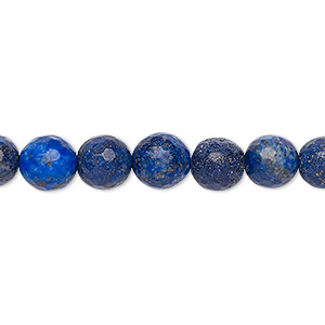 bead, lapis lazuli (natural), 8-9mm faceted round, c+ grade, mohs hardness 5 to 6. sold per 15-inch strand.