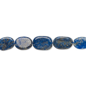bead, lapis lazuli (natural), 9x7mm-13x8mm hand-cut flat oval, c grade, mohs hardness 5 to 6. sold per 13-inch strand.