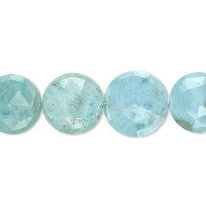 bead, larimar (natural), 10-13mm graduated hand-cut faceted flat round, b grade, mohs hardness 4-1/2 to 5. sold per 8-inch strand, approximately 15 beads.