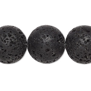 bead, lava rock (waxed), 18mm round, b grade, mohs hardness 3 to 3-1/2. sold per 16-inch strand.