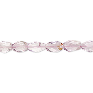 bead, lavender amethyst (natural), 7x5mm-11x6mm hand-cut faceted puffed oval, c+ grade, mohs hardness 7. sold per 8-inch strand.