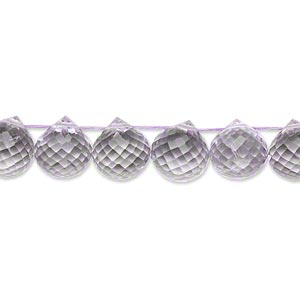 bead, lavender amethyst (natural), 8x8mm-9x8.5mm hand-cut top-drilled faceted teardrop, b grade, mohs hardness 7. sold per pkg of 10.