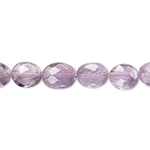 bead, lavender amethyst (natural), 9x7mm-12x9mm hand-cut faceted flat oval, b- grade, mohs hardness 7. sold per 7-inch strand.