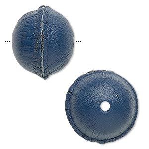 bead, leather, blue, 20-24mm smooth round. sold individually.
