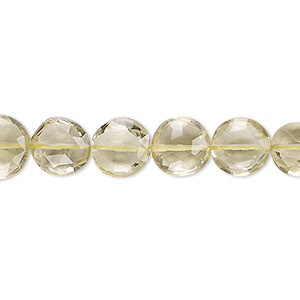 bead, lemon quartz (heated), 10-11mm hand-cut faceted puffed flat round, b- grade, mohs hardness 7. sold per 8-inch strand.