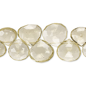 bead, lemon quartz (heated), 10x9mm-14x13mm graduated hand-cut top-drilled faceted puffed teardrop, b+ grade, mohs hardness 7. sold per 5-inch strand.