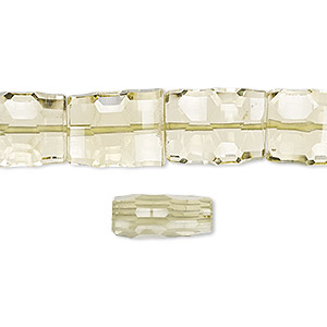 bead, lemon quartz (heated), 12x10mm-16x10mm hand-cut concave faceted rectangle, b grade, mohs hardness 7. sold per 8-inch strand, approximately 15 beads.