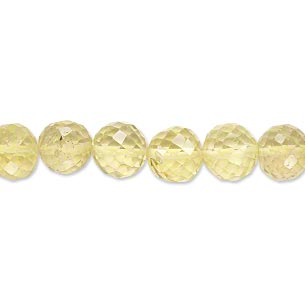 bead, lemon quartz (heated), 6-8mm graduated hand-cut faceted round, b grade, mohs hardness 7. sold per 18-inch strand.