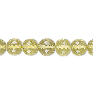 bead, lemon quartz (heated), 8-9mm hand-cut faceted round, b+ grade, mohs hardness 7. sold per 8-inch strand.