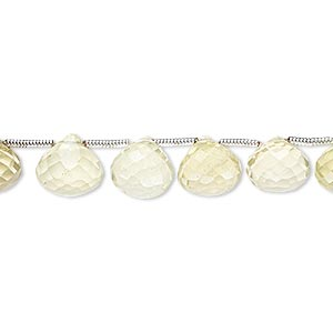 bead, lemon quartz (heated), 8x7mm-9x9mm hand-cut top-drilled faceted teardrop, b grade, mohs hardness 7. sold per pkg of 6 beads.