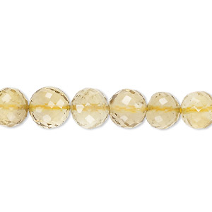 bead, lemon smoky quartz (heated / irradiated), light to medium, 6-10mm graduated hand-cut faceted round, b grade, mohs hardness 7. sold per 8-inch strand.