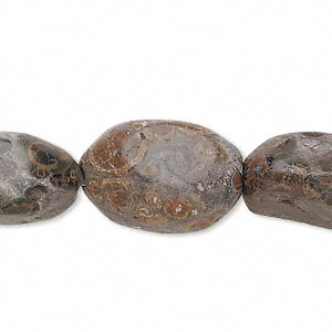 bead, leopardskin jasper (natural), medium tumbled nugget, mohs hardness 6-1/2 to 7. sold per 16-inch strand.