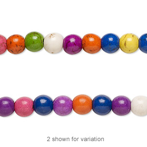bead, magnesite (dyed / assembled), multicolored, 6mm round with 0.5-1.5mm hole, mohs hardness 3-1/2 to 4. sold per 16-inch strand.