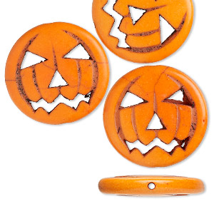 bead, magnesite (dyed / imitation), black and orange, 25x24mm double-sided carved jack-o-lantern pumpkin. sold per pkg of 4.