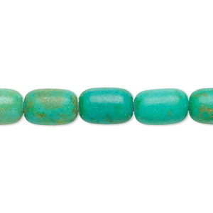 bead, magnesite (dyed / stabilized), apple green and teal green, 12x8mm barrel, c- grade, mohs hardness 3-1/2 to 4. sold per 15-inch strand.