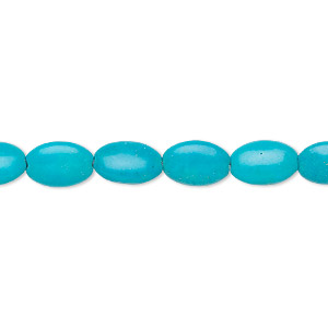 bead, magnesite (dyed / stabilized), blue, 10x7mm puffed oval, c grade, mohs hardness 3-1/2 to 4. sold per 16-inch strand.