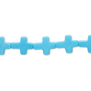 bead, magnesite (dyed / stabilized), blue, 11x9mm cross, b- grade, mohs hardness 3-1/2 to 4. sold per 15-inch strand.