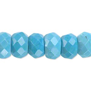 bead, magnesite (dyed / stabilized), blue, 13x8mm faceted rondelle, b grade, mohs hardness 3-1/2 to 4. sold per 16-inch strand.
