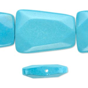 bead, magnesite (dyed / stabilized), blue, 30x22mm faceted flat trapezoid, b grade, mohs hardness 3-1/2 to 4. sold per 16-inch strand.