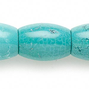 bead, magnesite (dyed / stabilized), blue, 34x25mm barrel, b grade, mohs hardness 3-1/2 to 4. sold per 16-inch strand.