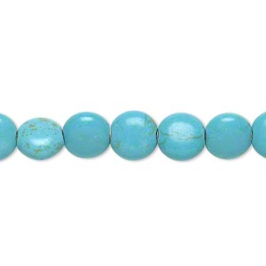 bead, magnesite (dyed / stabilized), blue and green, 8mm puffed flat round, c- grade, mohs hardness 3-1/2 to 4. sold per 15-inch strand.