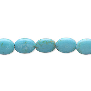 bead, magnesite (dyed / stabilized), blue-green, 10x8mm-10x9mm puffed oval, c grade, mohs hardness 3-1/2 to 4. sold per 15-inch strand.
