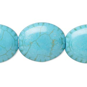 bead, magnesite (dyed / stabilized), blue-green, 23x19mm-24x20mm puffed oval with line design, b- grade, mohs hardness 3-1/2 to 4. sold per 8-inch strand.