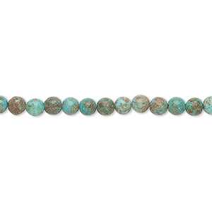 bead, magnesite (dyed / stabilized), blue-green, 4mm round, d grade, mohs hardness 3-1/2 to 4. sold per 15-inch strand.