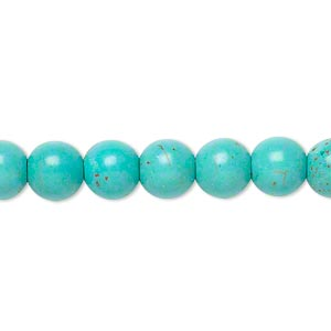 bead, magnesite (dyed / stabilized), blue-green, 7-8mm round, c grade, mohs hardness 3-1/2 to 4. sold per 15-inch strand.