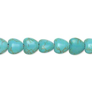 bead, magnesite (dyed / stabilized), blue-green, 7x7mm-8x8mm puffed heart, c grade, mohs hardness 3-1/2 to 4. sold per 15-inch strand.