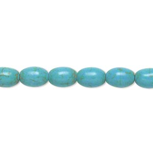 bead, magnesite (dyed / stabilized), blue-green, 8x6mm barrel, c- grade, mohs hardness 3-1/2 to 4. sold per 15-inch strand.