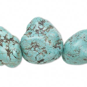 bead, magnesite (dyed / stabilized), blue-green, extra-large to gigantic nugget, mohs hardness 3-1/2 to 4. sold per 16-inch strand.