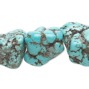 bead, magnesite (dyed / stabilized), blue, large nugget, mohs hardness 3-1/2 to 4. sold per 16-inch strand.