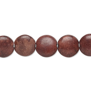 bead, magnesite (dyed / stabilized), brown, 12mm puffed flat round, c grade, mohs hardness 3-1/2 to 4. sold per 15-inch strand.