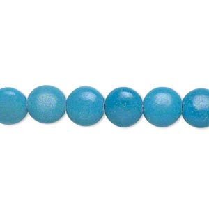 bead, magnesite (dyed / stabilized), dark blue, 8mm puffed flat round, c grade, mohs hardness 3-1/2 to 4. sold per 15-inch strand.
