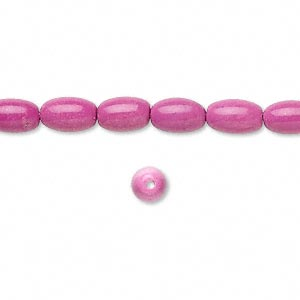 bead, magnesite (dyed / stabilized), fuchsia, 8x5mm oval, b grade, mohs hardness 3-1/2 to 4. sold per 16-inch strand.