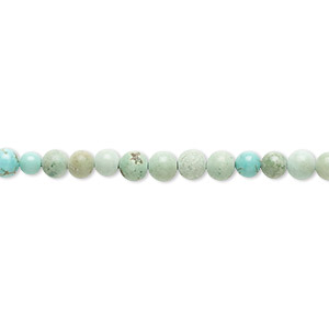 bead, magnesite (dyed / stabilized), green, 3-4mm round, d grade, mohs hardness 3-1/2 to 4. sold per 16-inch strand.