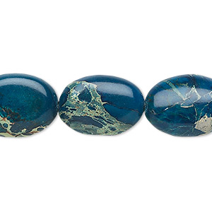 bead, magnesite (dyed / stabilized), lapis blue, 18x13mm flat oval, b grade, mohs hardness 3-1/2 to 4. sold per 16-inch strand.
