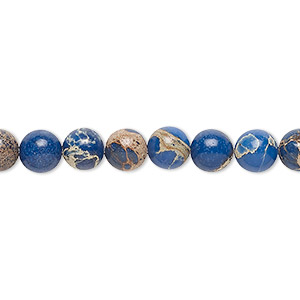 bead, magnesite (dyed / stabilized), lapis blue, 6mm round, b grade, mohs hardness 3-1/2 to 4. sold per 16-inch strand.