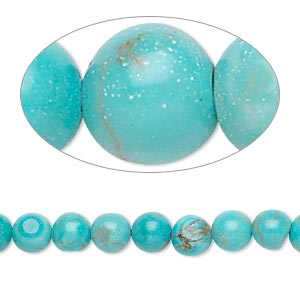 bead, magnesite (dyed / stabilized), light blue, 6mm round, c grade, mohs hardness 3-1/2 to 4. sold per 16-inch strand.