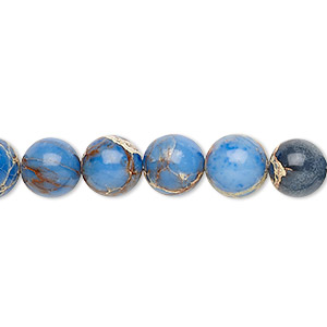 bead, magnesite (dyed / stabilized), light blue, 8mm round, b grade, mohs hardness 3-1/2 to 4. sold per 16-inch strand.